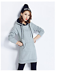 Women's Casual/Daily Simple Spring Vest,Solid Hooded Long Sleeve Long Cotton