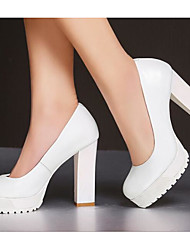 Damen High Heels Komfort Pumps Echtes Leder PU Herbst Normal Weiß Schwarz 10 - 12 cm