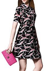 Feminino Reto Bainha Camisa Vestido,Para Noite Casual Trabalho Simples Moda de Rua Sofisticado Estampa Animal Colarinho de CamisaAcima do