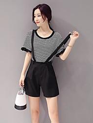 Mujer Simple Casual/Diario Verano T-Shirt Pantalón Trajes,Escote Redondo A Rayas Manga Corta