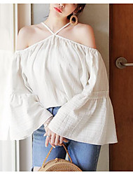 Women's Casual/Daily Simple Shirt,Solid Off Shoulder Long Sleeves Linen