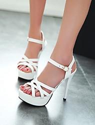 Femme Chaussures à Talons Confort Polyuréthane Eté Décontracté Talon Aiguille Blanc Rouge Rose 10 à 12 cm