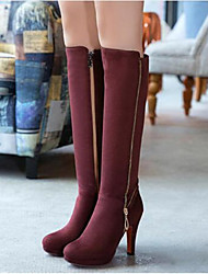 Women's Boots Comfort PU Winter Casual Comfort Ruby Brown Black 4in-4 3/4in