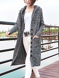 Women's Going out Casual/Daily Simple Long Cardigan,Solid Hooded Long Sleeves Cotton Fall Winter Thick Micro-elastic