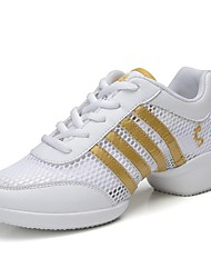 "Women's Dance Sneakers Real Leather Tulle Sneakers Outdoor Sided Hollow Out Flat Golden/White 1"" - 1 3/4"" Customizable"