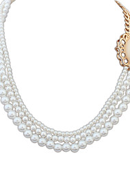 Women's Chain Necklaces Layered Necklaces Imitation Pearl Imitation Pearl Alloy Fashion Vintage Adjustable Personalized Classic Elegant