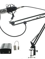 Kit de audio bm700 micrófono micrófono de estudio de grabación con ventana a prueba de viento portafiltros brazo 48v phantom power