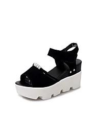 Damen Sandalen Komfort Wildleder Sommer Normal Klettverschluss Keilabsatz Schwarz Grau 5 - 7 cm