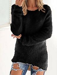 Standard Pullover Da donna-Casual Tinta unita Rotonda Manica lunga Cashmere Autunno Inverno Medio spessore Media elasticità