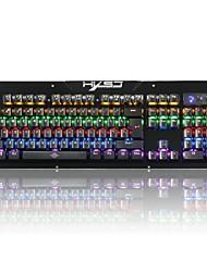 HXSJ Origiinal 2600 RGB Anti-ghosting Macro Metal USB Wired Metal 104 Keys Outemu Blue Switch Mechanical backlit Gaming Keyboard For Computer