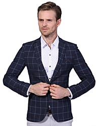 Men's Plus Size Business Casual Slim Plaid A Single Breasted Blazer Cotton Spandex