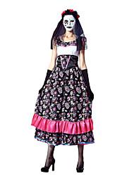 Une Pièce/Robes Costumes de Cosplay Zombie Cosplay Fête / Célébration Déguisement d'Halloween Rétro Robes Robe Masque Halloween Carnaval