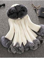 Women's Casual/Daily Cute Fall Winter Fur Coat,Solid Hooded Long Sleeve Regular Raccoon Fur