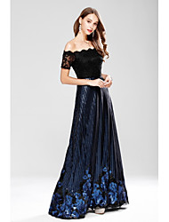 A-Line Off-the-shoulder Floor Length Lace with Embroidery Sequined Formal Evening Dress