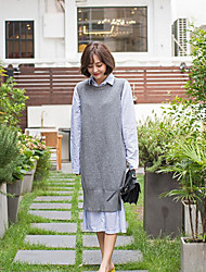 Women's Casual/Daily A Line Dress,Solid Shirt Collar Midi Long Sleeves Cotton Polyester Summer Mid Rise Micro-elastic Medium