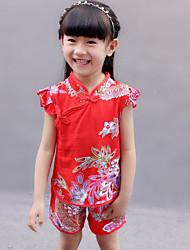 Girls' Print Sets,Polyester Summer Short Sleeve Clothing Set