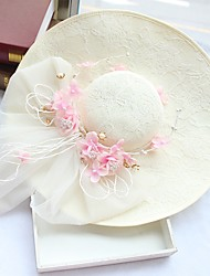 Tulle Chiffon Imitation Pearl Lace Fabric Silk Net Headpiece-Wedding Special Occasion Birthday Party/ Evening Fascinators Hats 1 Piece