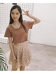 Mujer Simple Casual/Diario Verano T-Shirt Pantalón Trajes,Escote Redondo Un Color Manga Corta Microelástico