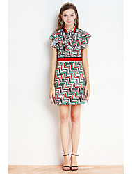 Dámské Běžné/Denní Pouzdro Šaty Proužky Tisk,Krátký rukáv Košilový límec Nad kolena Polyester Léto Mid Rise Lehce elastické Střední