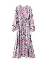 Ample Robe Femme Vacances Sortie Décontracté / Quotidien simple Chic de Rue,Fleur Arc-en-ciel Col en V Maxi Manches Longues Soie Coton