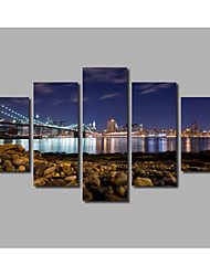 Fashion New HD Printed 5 Panels Framed Bridge Scenery Posters Night Rivers Landscape Painting on Canvas For Modern Home Wall Art Decor