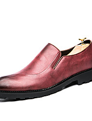 Men's Shoes Leather Fall Winter Comfort Formal Shoes Oxfords For Casual Party & Evening Office & Career Black Red