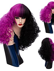 New Curly Hair Wigs Mix Color Half Black Half Purple Synthetic Wig Curly Afro Wigs Heat Resistance Cosplay Wigs For Women