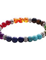 Lureme Men Women 8mm Lava Rock 7 Chakras Beads Bracelet Elastic Natural Stone Yoga Bracelet
