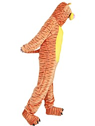Kigurumi Pajamas Tiger Leotard/Onesie Shoes Festival/Holiday Animal Sleepwear Halloween Stripes Animal Print Embroidered Flannel Fabric with shoes
