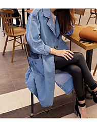Women's Going out Casual/Daily Simple Spring Fall Denim Jacket,Solid Peter Pan Collar Long Sleeve Long Cotton