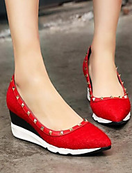 Damen High Heels Pumps Echtes Leder PU Herbst Winter Normal Schwarz Rot 10 - 12 cm