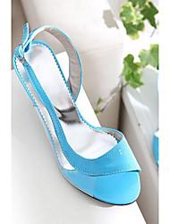 Women's Heels Comfort Summer PU Casual Low Heel Fuchsia Green Blue 2in-2 3/4in