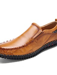 Men's Shoes Cowhide Summer Fall Comfort Loafers & Slip-Ons Walking Shoes Split Joint For Casual Black Yellow Red