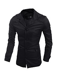 Men's Casual/Daily Simple Fall Winter Trench Coat,Solid Round Neck Long Sleeve Regular PU