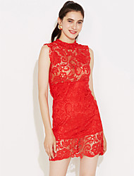 Women's Lace Red/White/Black Dress,Sexy Mini Stand Collar Sleeveless