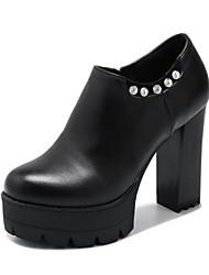 Women's Boots Gladiator Fashion Boots Leatherette Fall Winter Office & Career Dress Rhinestone Applique Beading Zipper Chunky HeelBlack