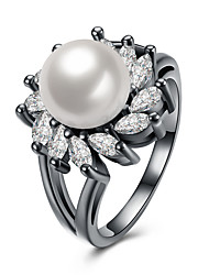 Lureme Women's Vintage Elegant Sunflower with CZ White Cultured Pearl Ring