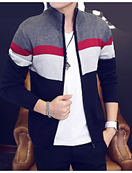 Men's Casual/Daily Simple Regular Cardigan,Striped Crew Neck Long Sleeve Polyester Spring Thin Micro-elastic