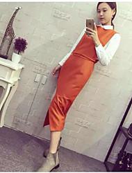 Women's Work Simple Spring Fall Shirt Skirt Suits,Solid Shirt Collar Long Sleeve