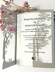 Silver Wedding Invitation Cards Loving Tree Wedding Invitations - Set of 50
