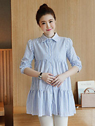 Women's Casual/Daily A Line Dress,Striped Shirt Collar Above Knee Long Sleeves Cotton Linen Fall Mid Rise Inelastic Medium