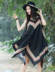 Feminino Solto Vestido,Casual Sólido Estampado Com Alças Médio Sem Manga Algodão Verão Cintura Média Sem Elasticidade Transparente