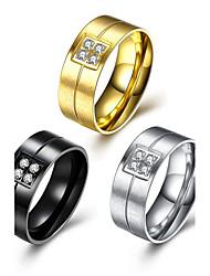 Herrn Bandringe Kubikzirkonia Basis Modisch individualisiert Luxus-Schmuck Simple Style Klassisch Titan ZirkonGeometrische Form