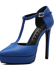Для женщин Обувь на каблуках Овчина Лето Осень Для прогулок С отверстиями На шпильке Красный Синий 7 - 9,5 см