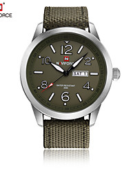 NAVIFORCE Men's Dress Watch Fashion Watch Japanese Quartz Water Resistant / Water Proof Fabric Band Cool Casual Green Khaki