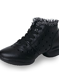 "Women's Dance Sneakers Real Leather Sneakers Outdoor Stitching Lace Sided Hollow Out Flat Black 1"" - 1 3/4"" Customizable"