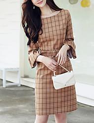 Feminino Bainha Vestido,Para Noite Casual Simples Moda de Rua Estampado Decote Redondo Altura dos Joelhos Manga 3/4 Poliéster Outono