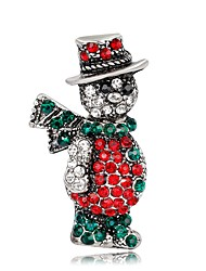 lureme Vintage Christmas Jewelery Colorful Crystal Inlay Cute Snowman Brooch Pin-Anti Gold