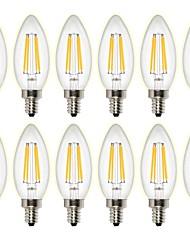 4W Lampadine LED a incandescenza C35 4 COB 400 lm Bianco caldo Oscurabile Decorativo AC 220-240 AC 110-130 V 12 pezzi