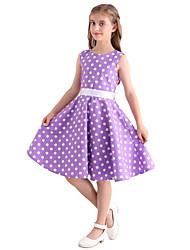 Girl's Purple White Polka Dot Vintage Inspired Sleeveless 50s Rockabilly Swing Dress Cotton All Seasons